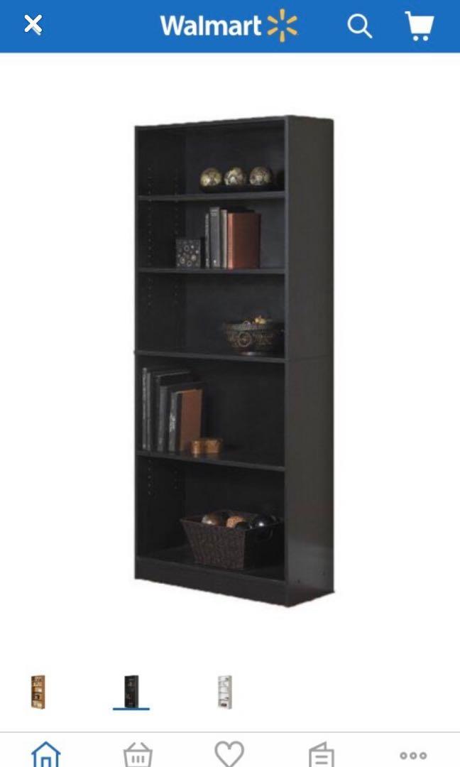 Black bookcase 5 shelves