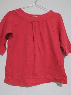 日牌專櫃BOBSON正紅兩穿微短版上衣 短袖T恤 #剁手價