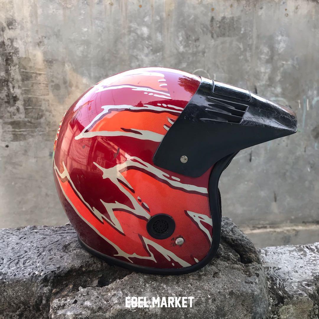 Helm Suzuki TS125 petir merah / Helm jadul / Helm vintage