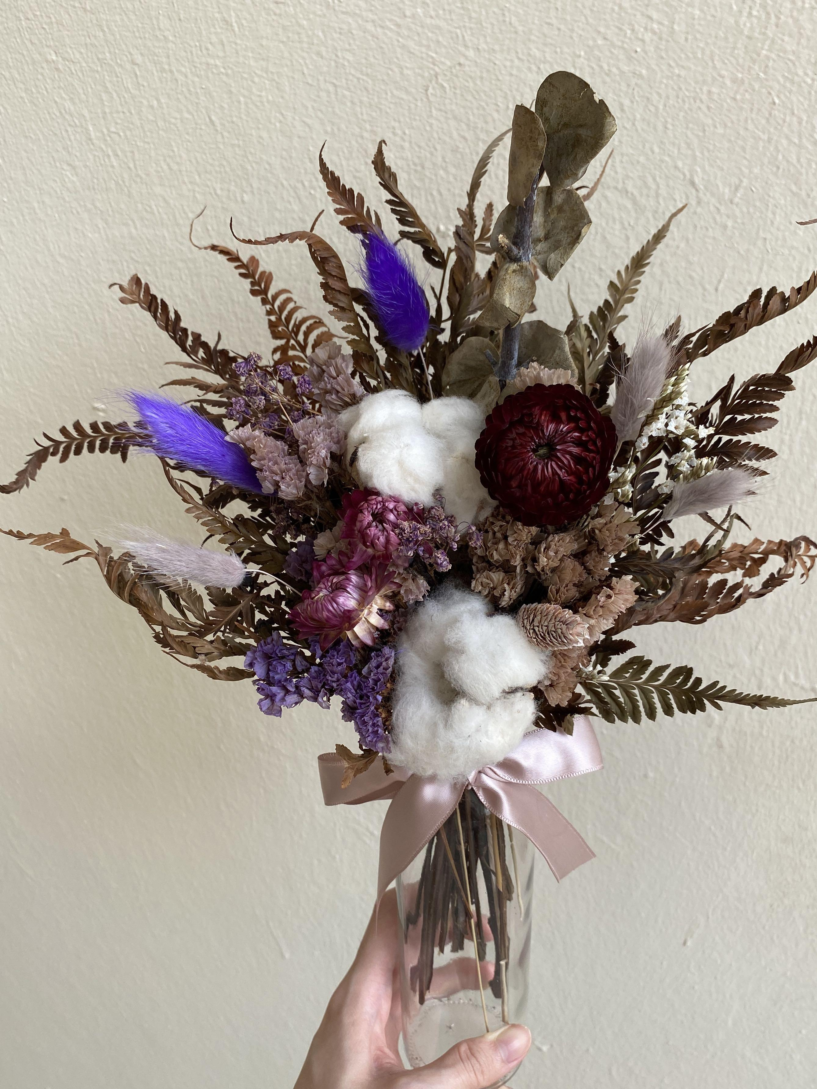 Purple Dried Flower Display In Transparent Vase Gardening Flowers Bouquets On Carousell