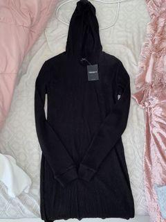 Waffle Knit hooded mini dress