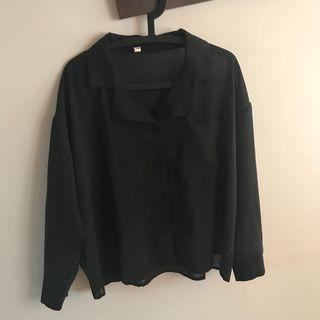 🍫黑色微透膚襯衫