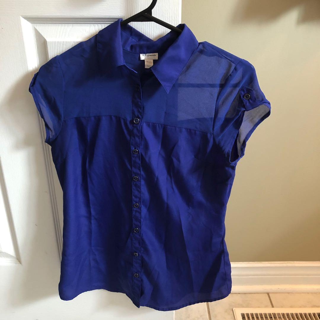 Blue business casual top
