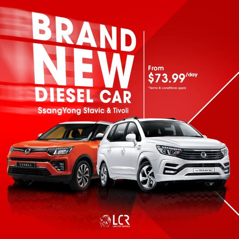 Enjoy more savings with a BRAND NEW DIESEL Car for GRAB or Gojek! PHV ready From just $73.99/day you can driveaway a brand new SsangYong Diesel Car!