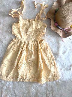 Gingersnaps Yellow Eyelet Dress (runs small)