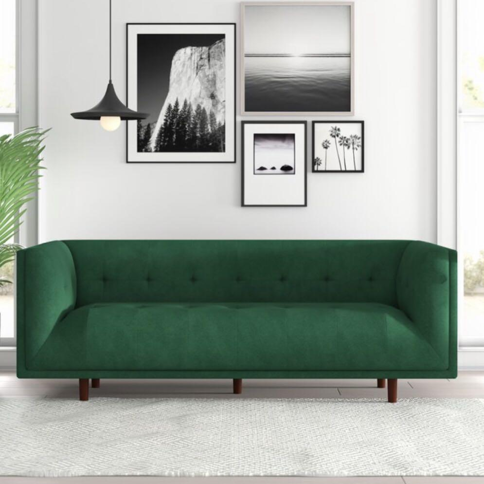 Green tufted velvet sofa couch