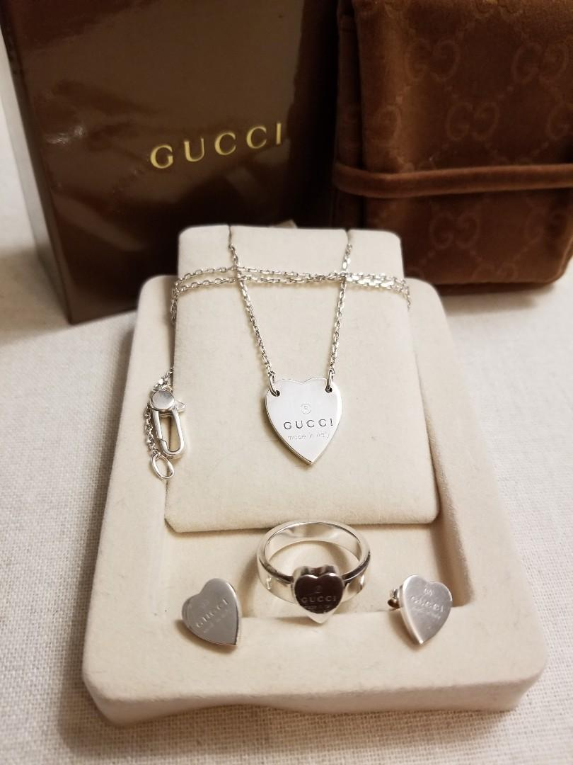 GUCCI Heart Earrings, Ring & Necklace Set