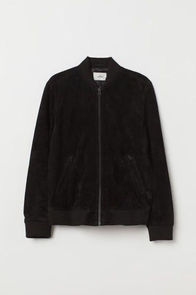 H&M premium suede bomber jacket
