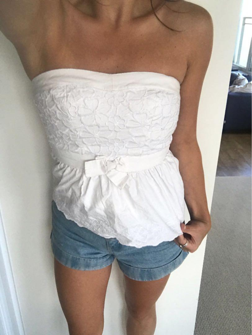 Hollister White Strapless Top XS