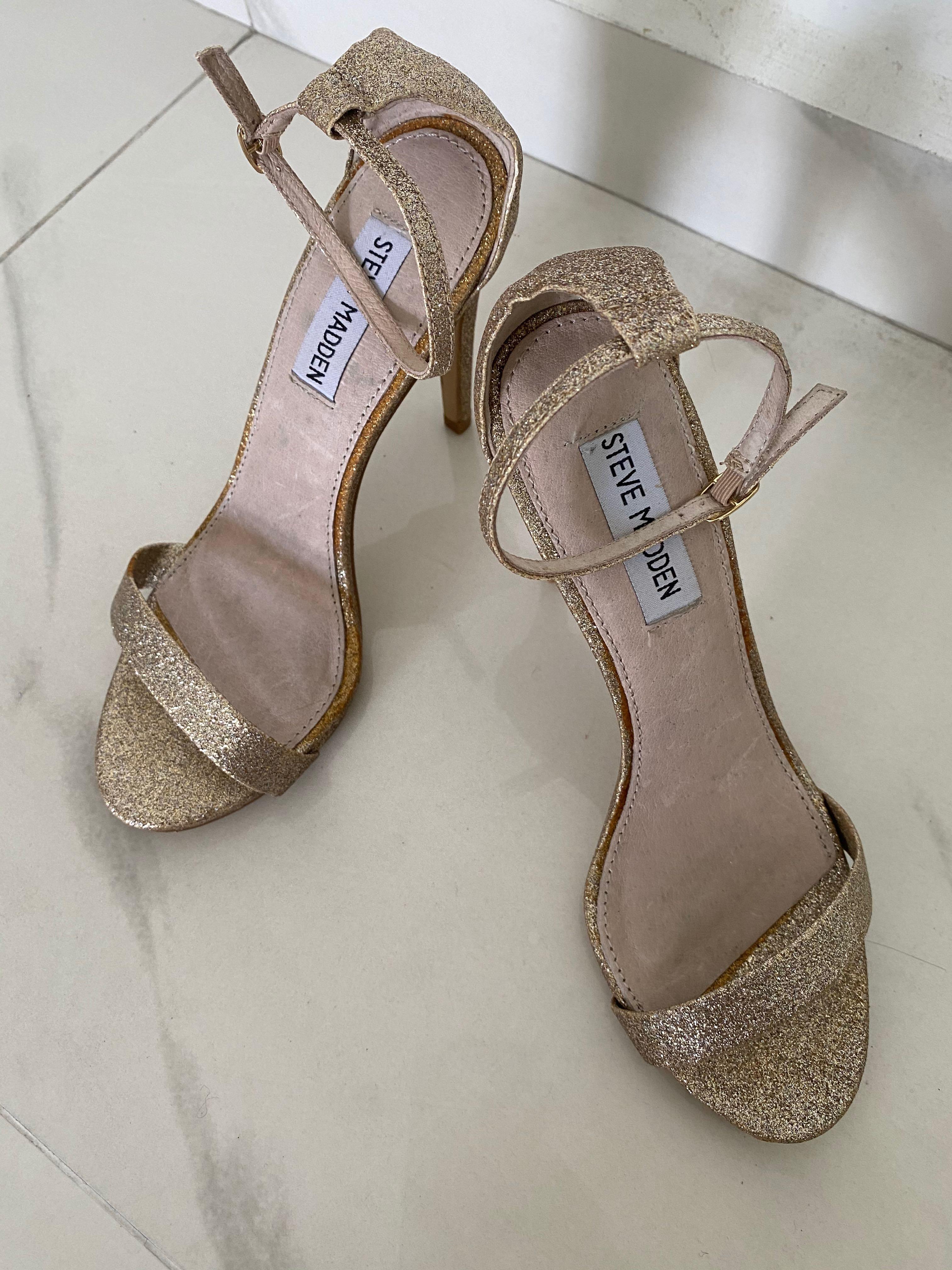 Steve Madden Gold Glitter Heels Size38