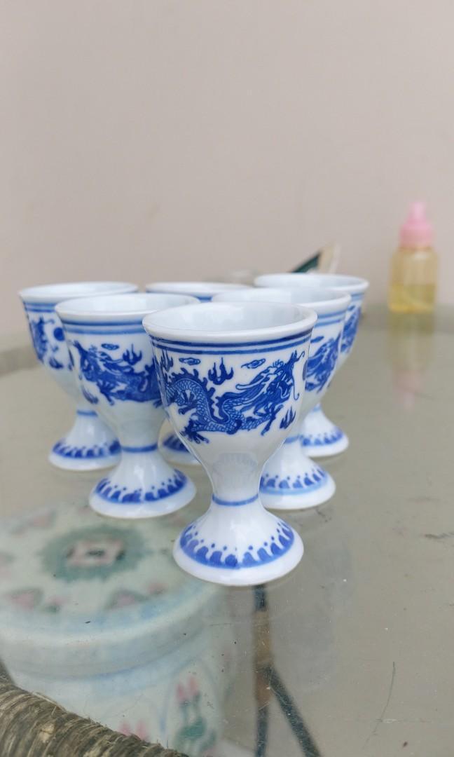 Tea set chinese naga biru dragon antik
