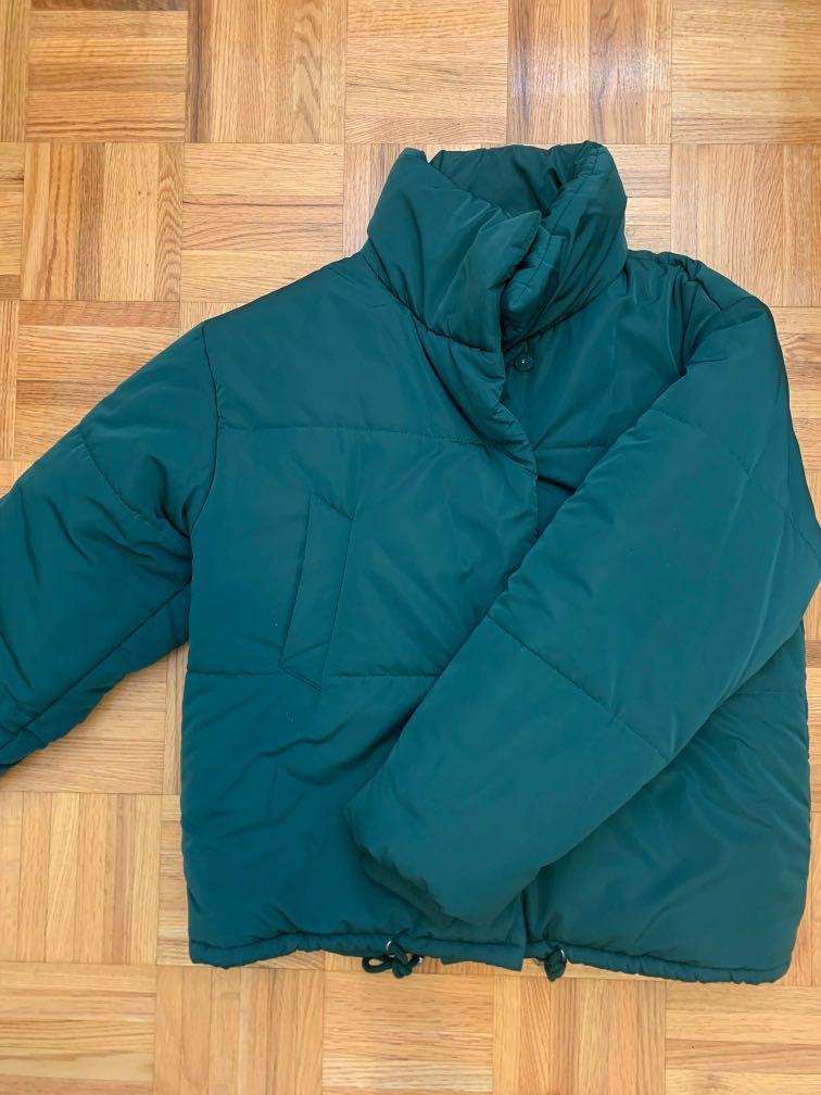teal green puffer jacket
