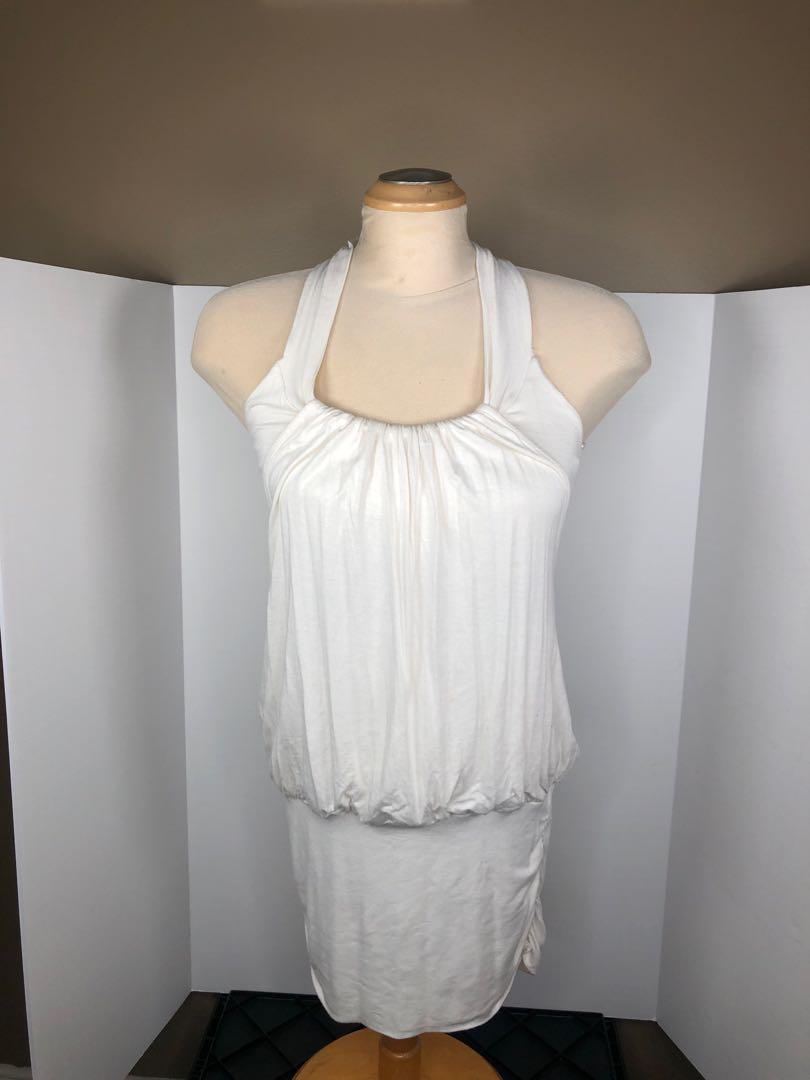 Urban behavior white sleeveless fitted dress