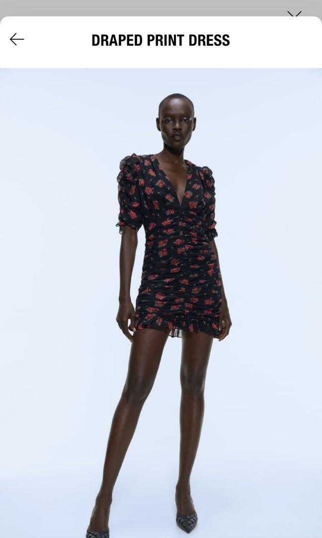 Zara black and red poplin dress, size M