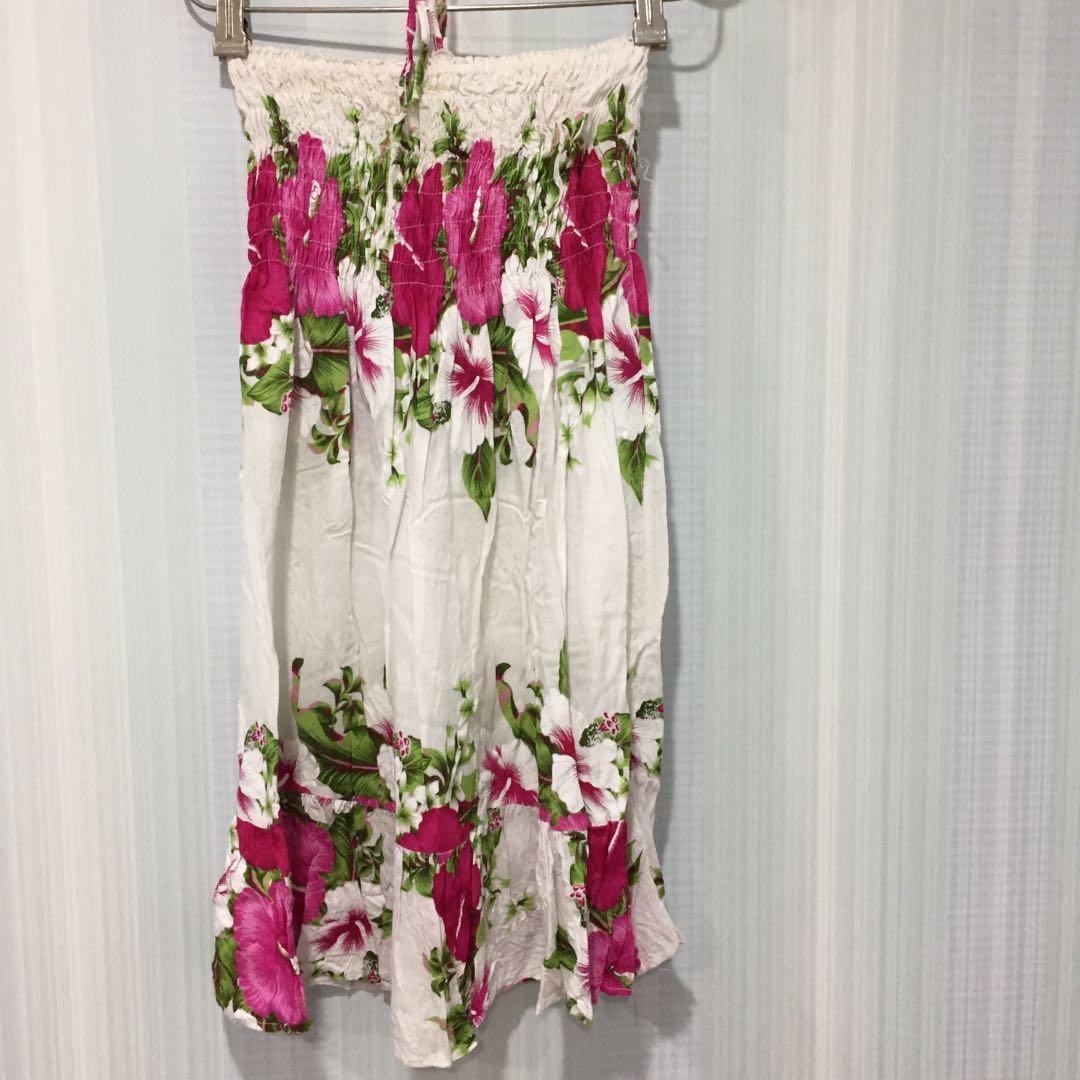 91(5)伸縮平口印花圖騰繞頸洋裝