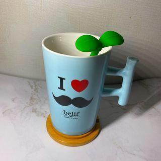馬克杯組*馬克杯+質感杯墊+療癒綠葉湯匙攪拌棒