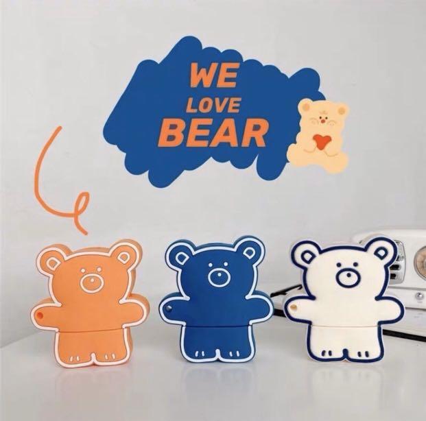 韓國線條可愛小熊Air pods殼 附掛勾