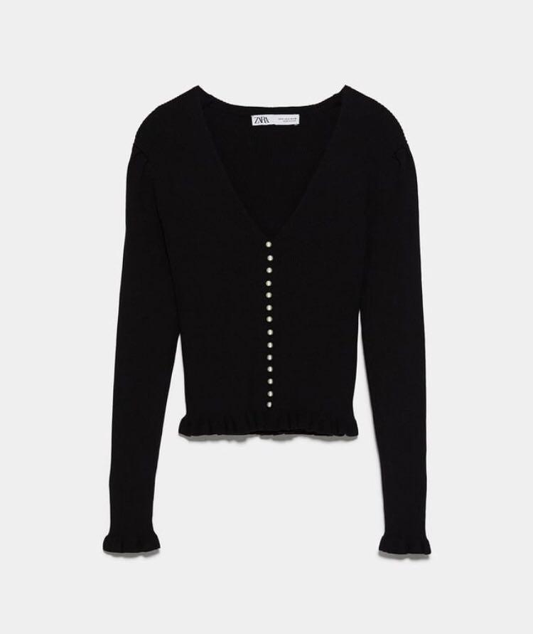 BNWT Zara Pearl Button Top