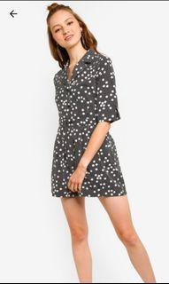 Button Down 3/4 Sleeves Playsuit