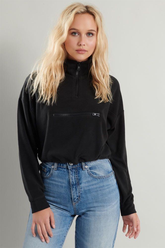 Cropped garage quarter zip sweater