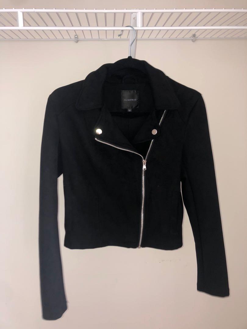 S - Dynamite Black Faux Suede Jacket