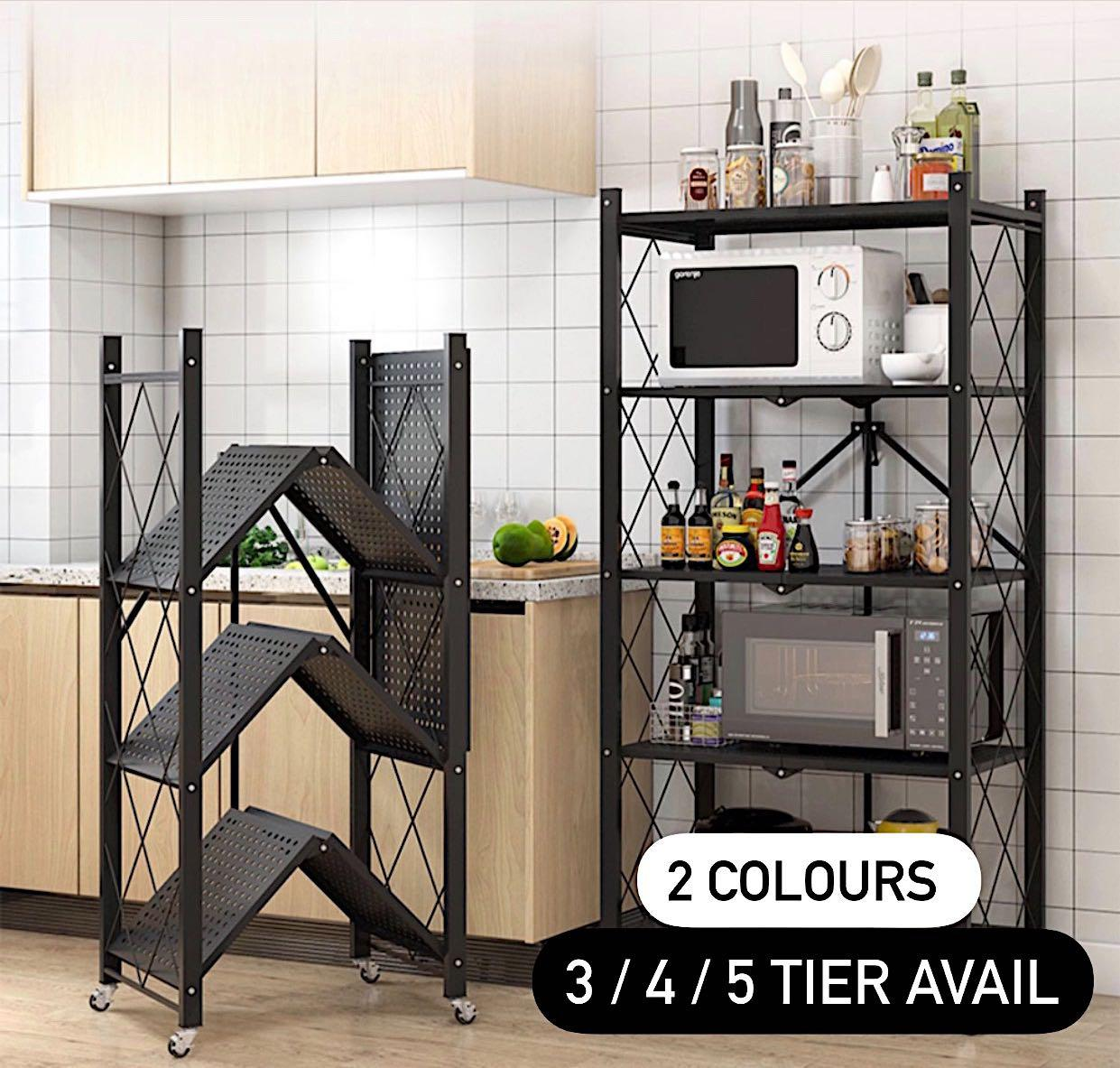 Free Courier Multi Purpose Kitchen Storage Rack Foldable Storeroom Movable Trolley Heavy Duty Furniture Shelves Drawers On Carousell