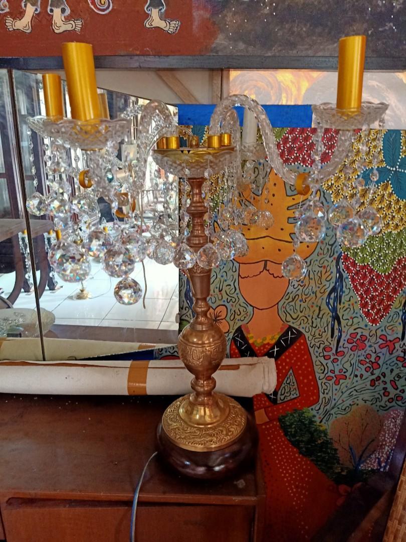 Lampu Meja Kristal Italy Batang Kuningan