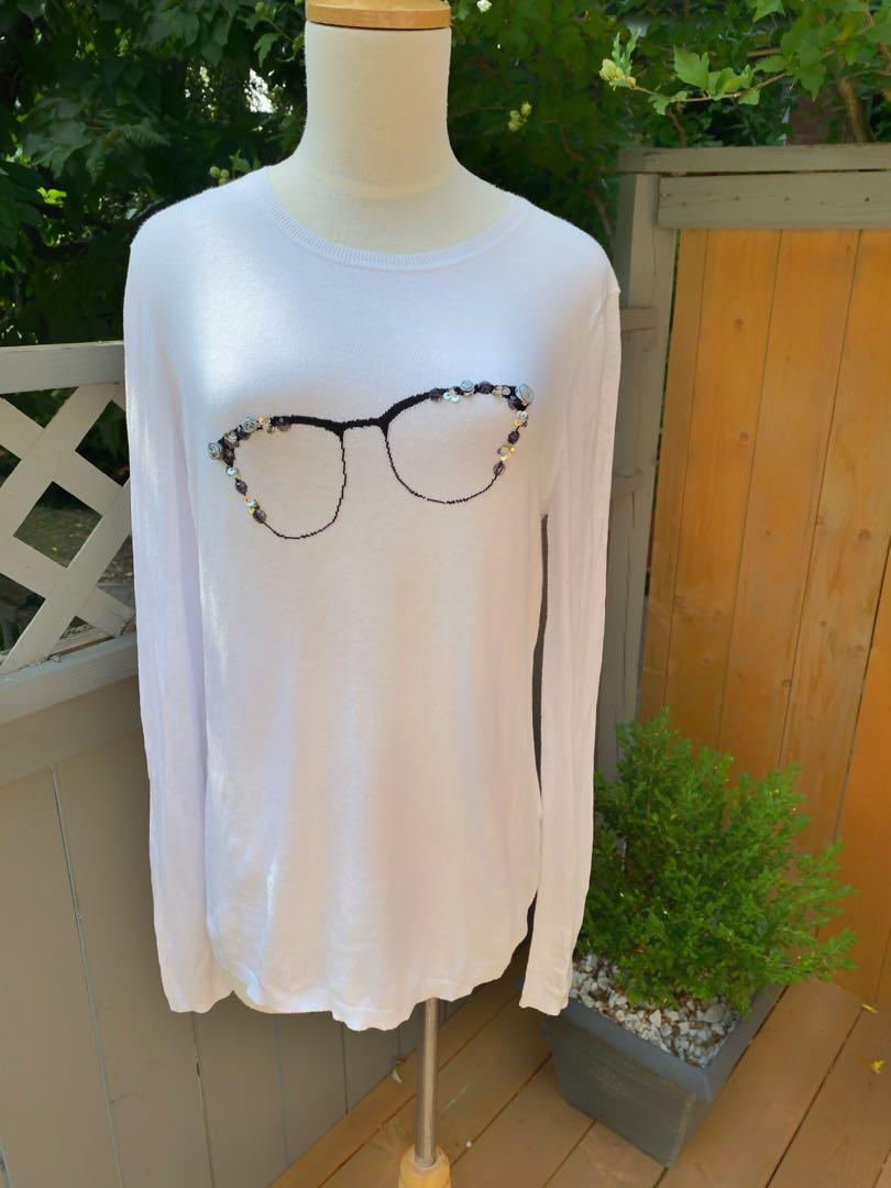 ***Lord and Taylor cute sweater with sparkly glasses in size medium***