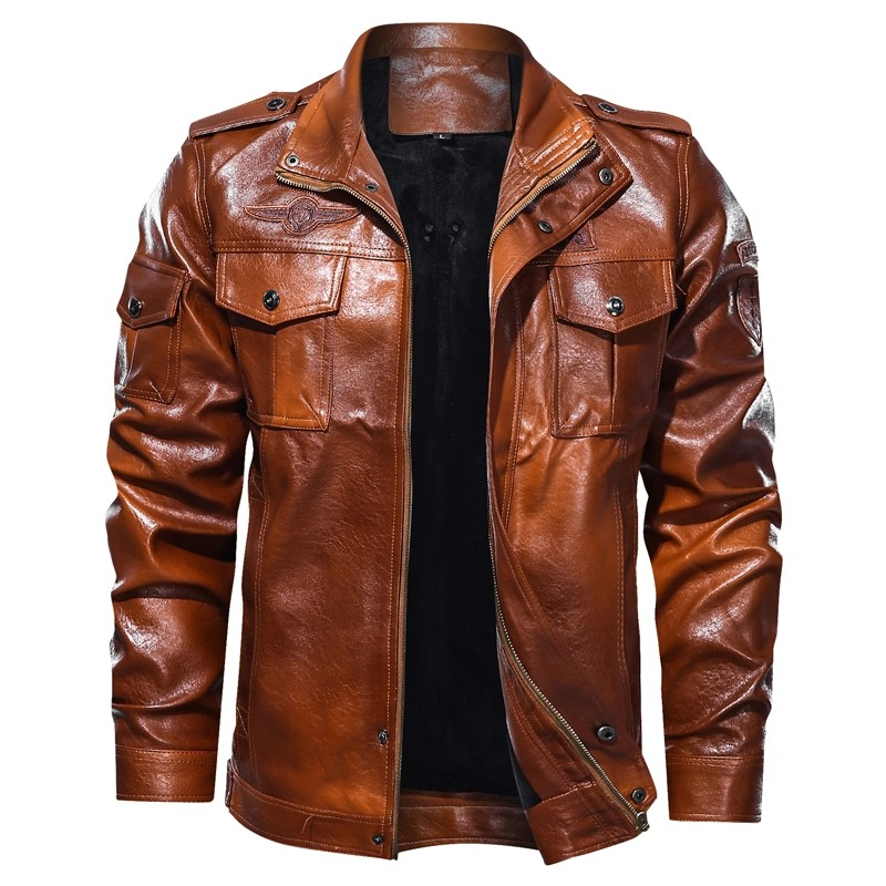 Men Pu Leather Jacket Black Grey Brown Jacket Men S Fashion Clothes Outerwear On Carousell