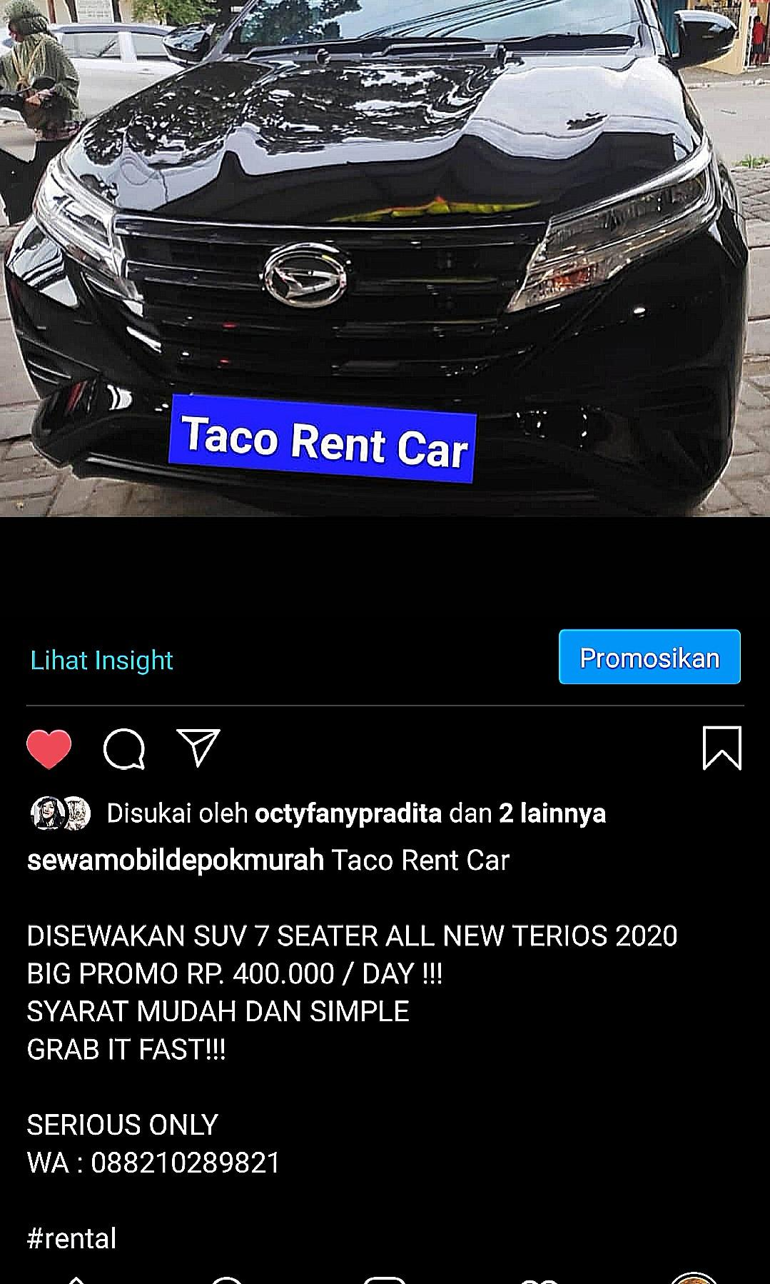 SEWA All New Terios 2020  CUMA 400 RIBU PERHARI