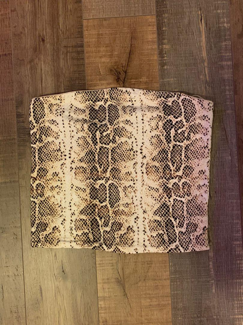 Snake Print Cropped Tube Top