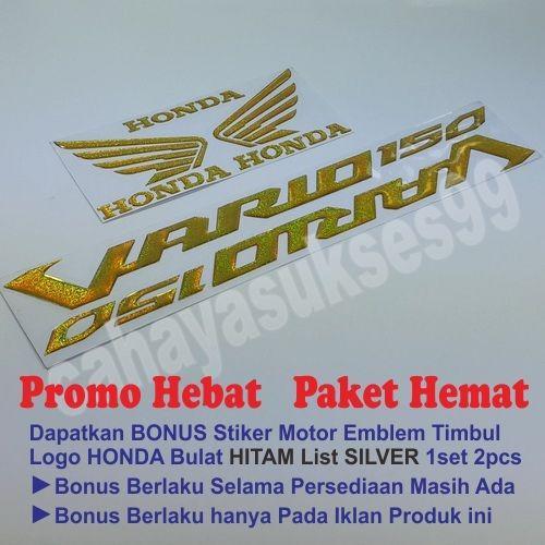 Sticker Timbul Honda VARIO 150 Gold Sticker Motor Emblem Timbul Logo Wings Sayap Honda GOLD Size MEDIUM Resin Tebal Reflective Paket Hemat TERLARIS