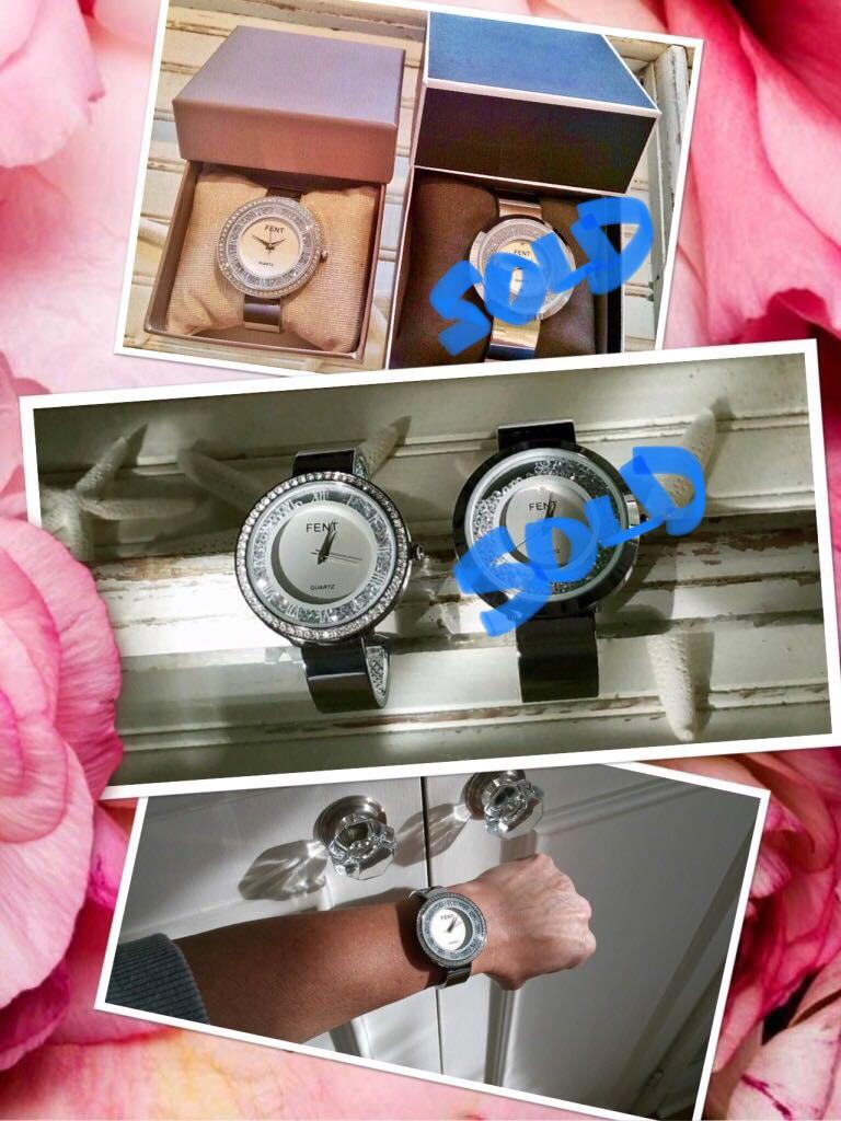 STUNNING BRAND NEW stainless/floating rhinestone watches bought in FRANCE