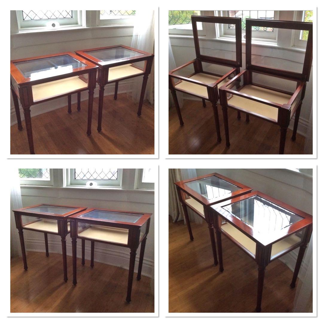 Two Like New Condition Collectable 1990's Bombay wood Curio tables with bevelled glass