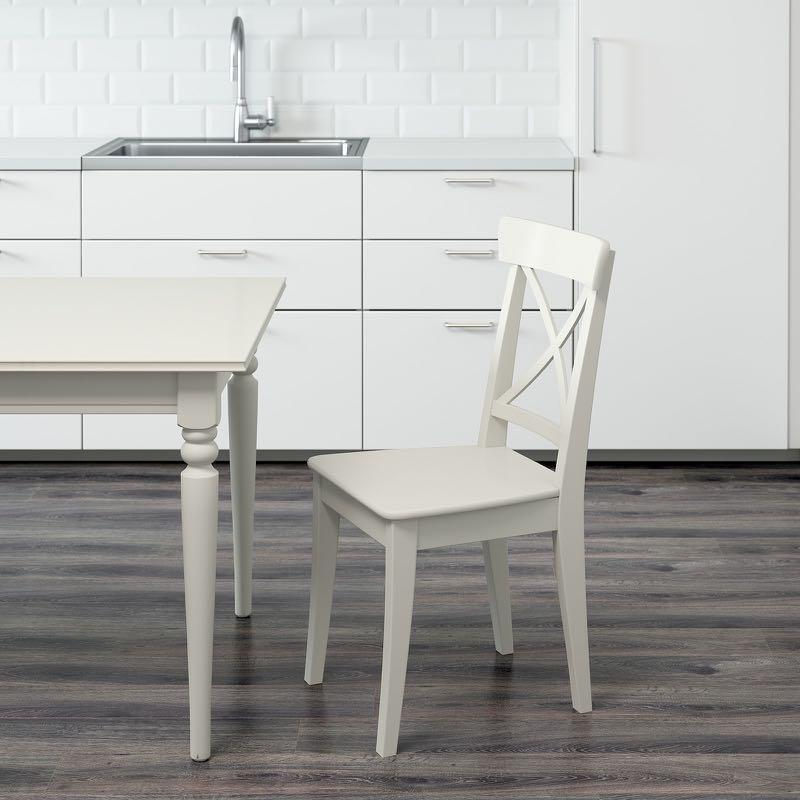 White Chairs, IKEA, Ingolf (4 pcs)