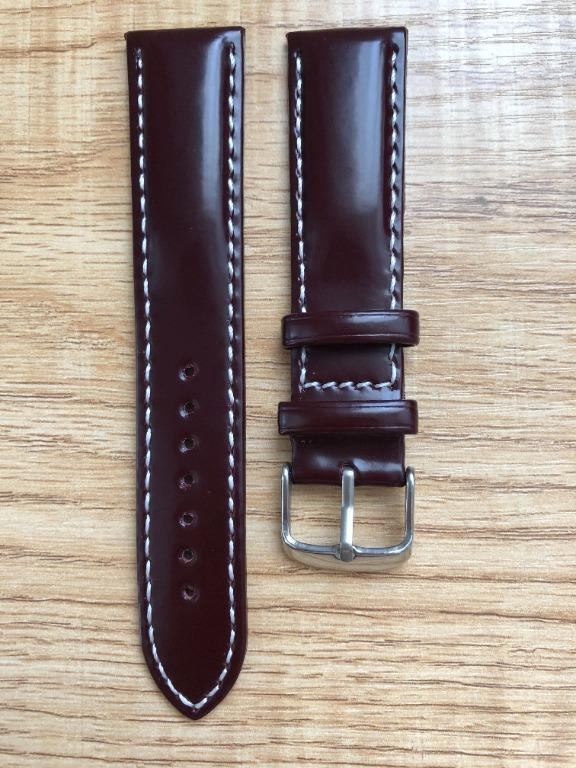20mm Burgundy / Wine Red Shell Cordovan Leather Watch Strap
