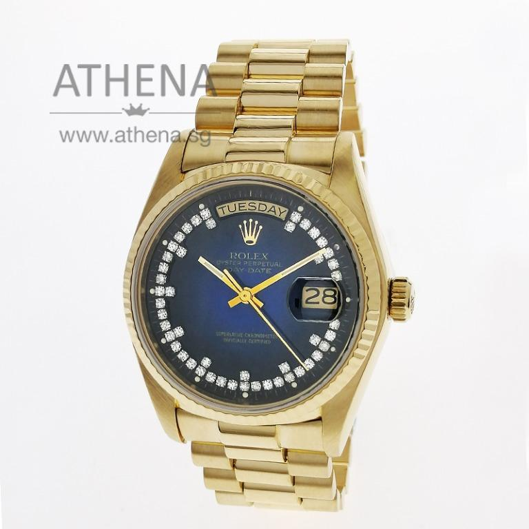 """ROLEX 18K YELLOW GOLD OYSTER PERPETUAL DAY-DATE """"ORIGINAL TWO TONE DIAMOND DIAL"""" WITH CERT & RSC SVC PAPER 18038 JGWRL_1061"""