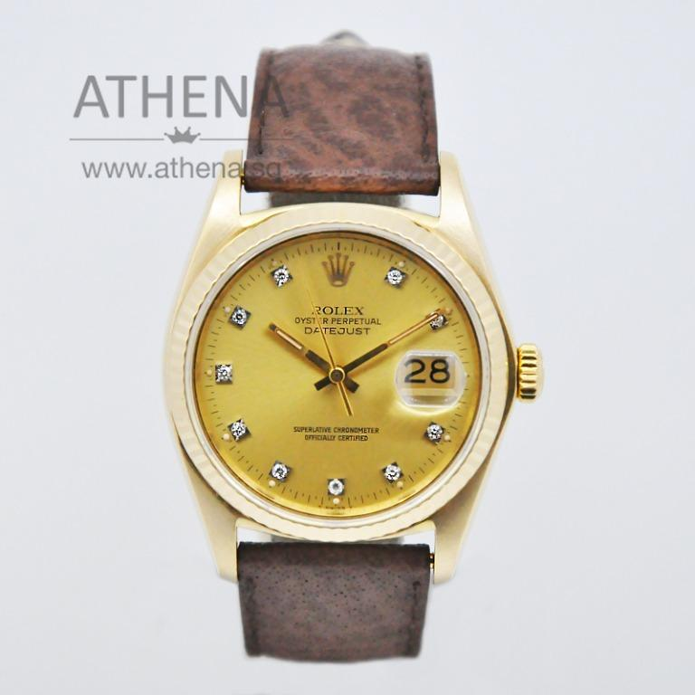 "ROLEX 18K YELLOW GOLD "" MENS OYSTER PERPETUAL DATEJUST ""GOLD DIAMOND DIAL"" WITH CERT 16018 (LOCAL AD) JGWRL_490"