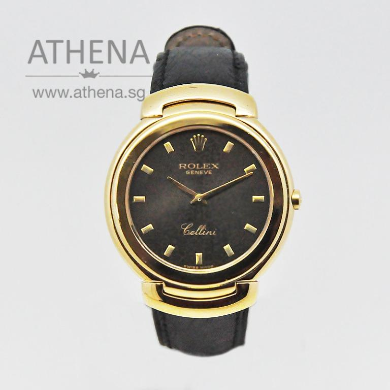 """VINTAGE 18K YELLOW GOLD ROLEX CELLINI """"S"""" SERIES """"BLACK JUBILEE INDEX DIAL"""" WITH BRAND NEW ROLEX STRAP & SERVICE PAPER 6623 JGWRL_005"""