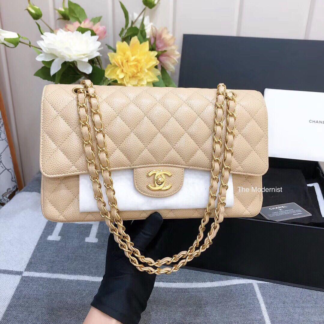 Full Set No Receipt | Authentic Chanel Beige Caviar Leather Medium Double Flap Gold Hardware