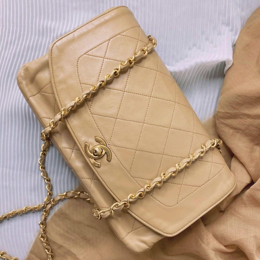 Authentic Chanel Medium Beige Diana Flap Gold Hardware