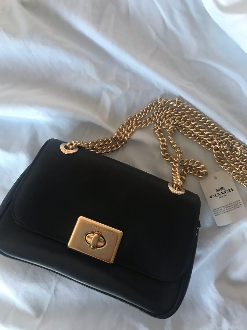 Black Coach gold chain bag