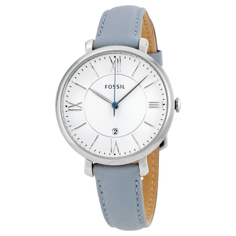 Brand New Fossil Jacqueline Smokey White Dial Blue Leather Ladies Watch (ES3821)