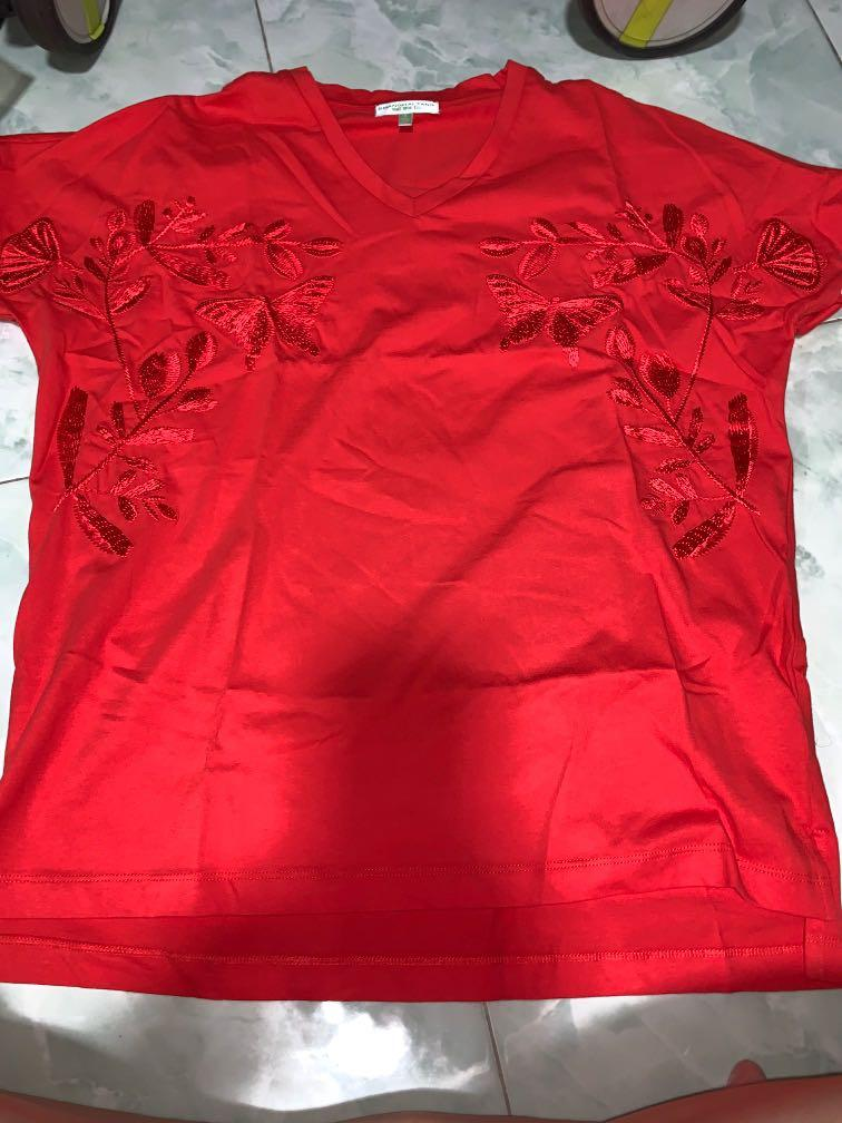 Brand new Shanghai tang red embroidered tee S oversized or ladies L ptp 53cm