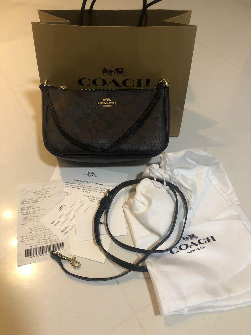 Reserved!!!Brown Black strap Coach