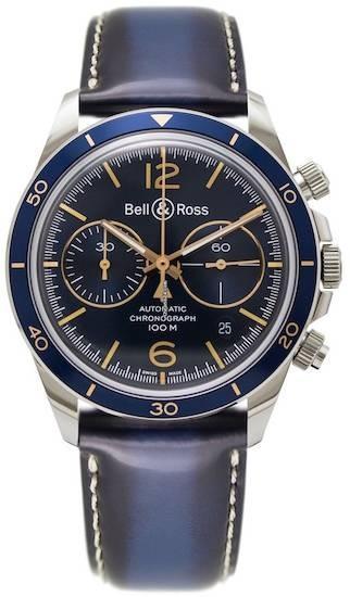 Authentic BRV294-BU-G-ST-SCA - BELL & ROSS Mod. AERONAVALE Men Watch