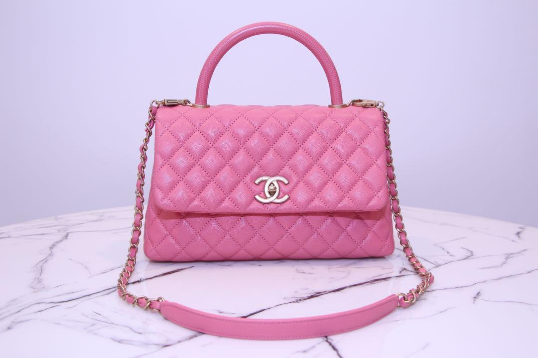 Chanel Coco Handle 29cm Sakura pink caviar GHW FULL set with France receipt