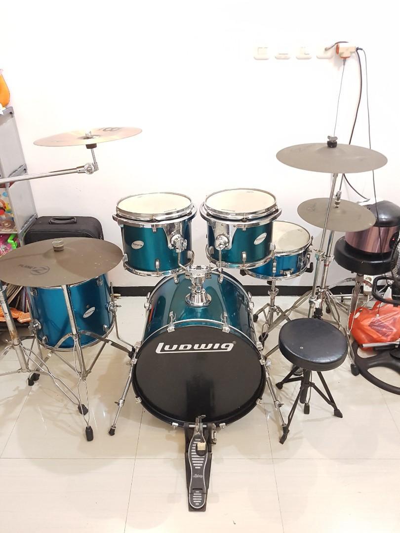 Drumset ludwig accent cs lengkap cymbal