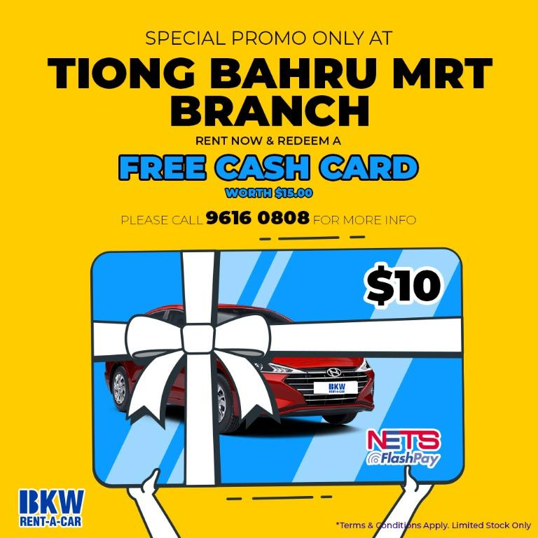 Free cash card promotion at BKW Tiong Bahru MRT Branch