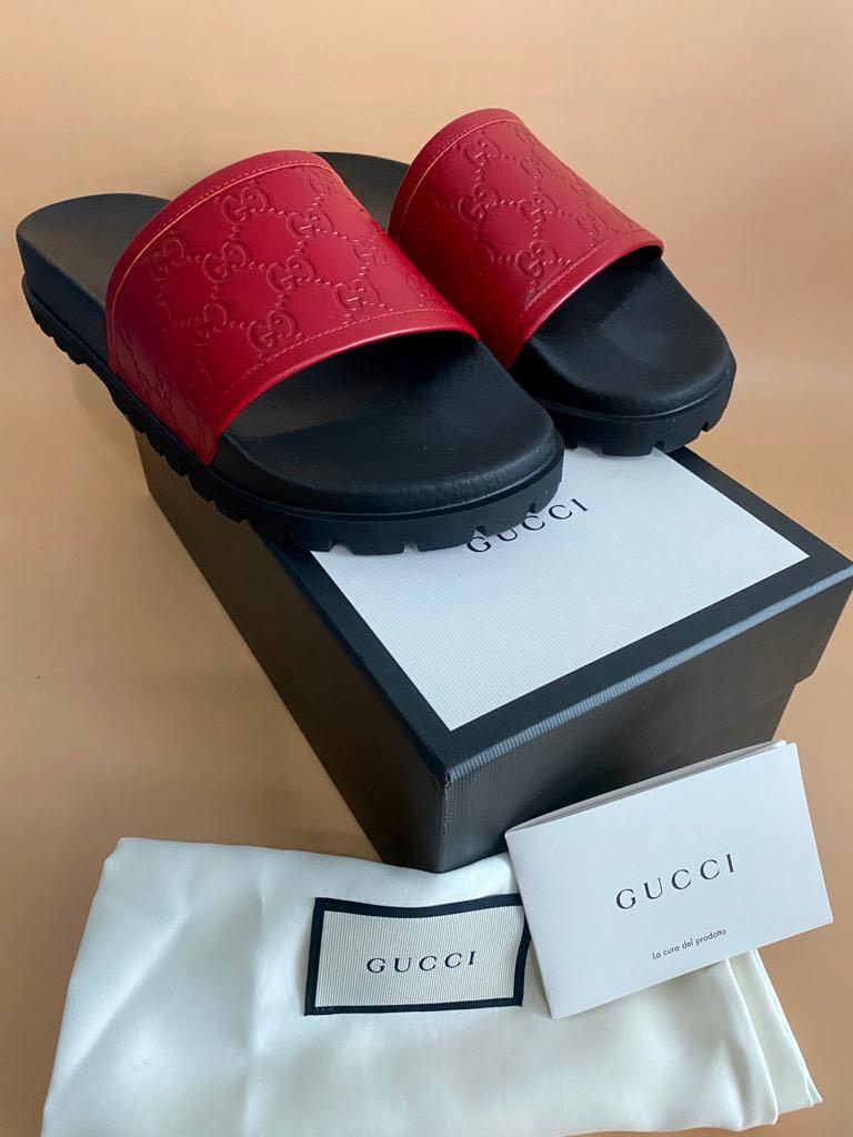 "Gucci - ""EXCLUSIVE"" - GG Leather Slides- RARE Size 11 (Fits 10 UK To 11 UK) - NO NEGO PLEASE!"
